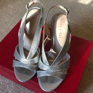 Kelly and Katie Silver Sparkly Dress Shoes